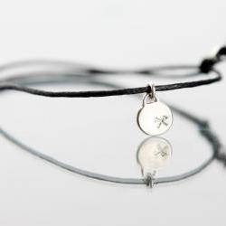 PROSPERITY - perfection, wealth and harmony - sign bracelet or necklace- handmade sterling silver 925 pendant on Leather cord