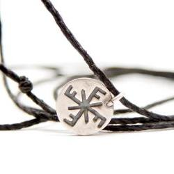  THUNDER - happiness and energy - sign bracelet ornecklace- handmade sterling silver 925 pendant on sliding cotton thread
